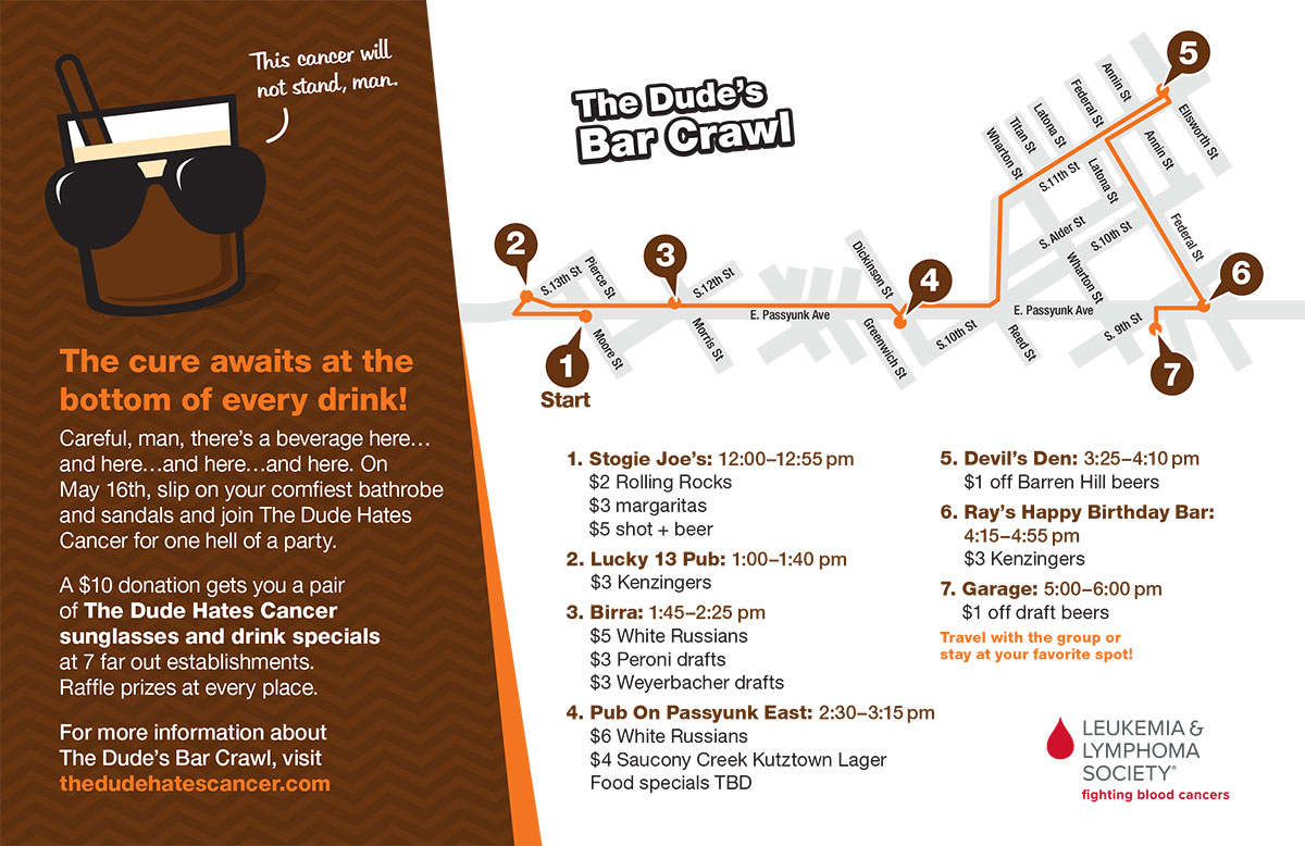 The Dude's Pub Crawl - Route and Specials